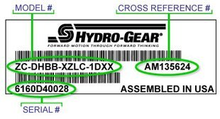 Hydro-Gear Model and Serial Number Label
